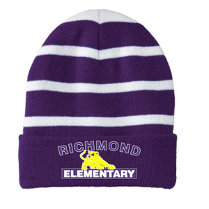 Beanie with Inner Lining, White Stripe