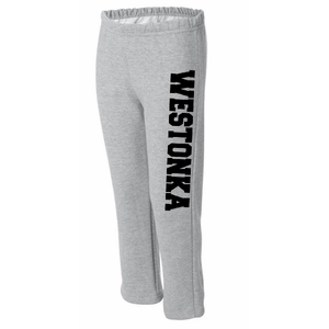 Youth and Adult Open Bottom Sweatpants with WESTONKA down leg in white