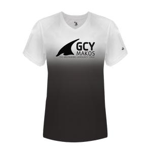 Badger Sport Women's Ombre V-Neck Short Sleeve Tee Shirt